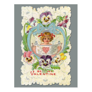 Vintage Cherub and Pansies Valentine Postcard