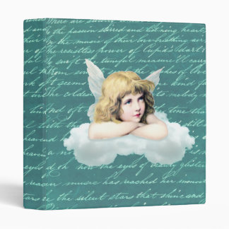 Vintage cherub angel on a cloud binder