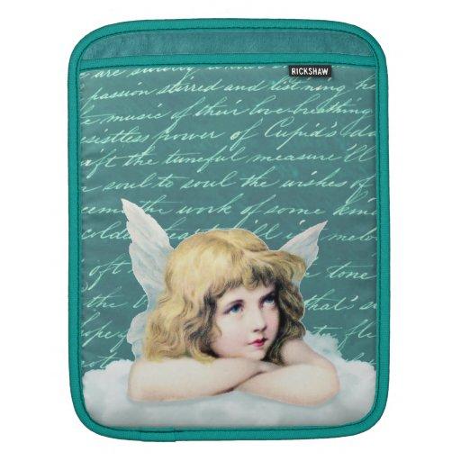 Vintage cherub angel on a cloud iPad sleeves