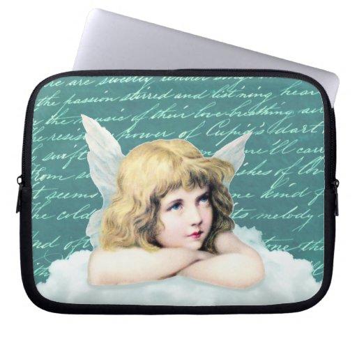 Vintage cherub angel on a cloud laptop computer sleeve