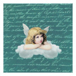Vintage cherub angel on a cloud poster