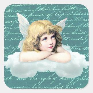 Vintage cherub angel on a cloud square sticker