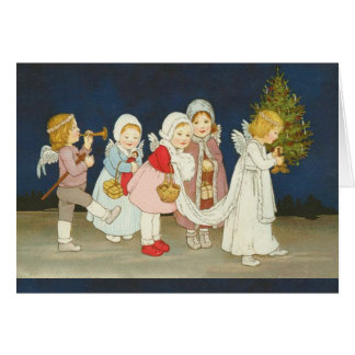 Vintage cherub angels christmas holiday card