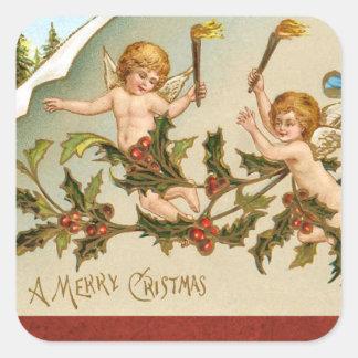 Vintage cherub angels christmas holiday sticker
