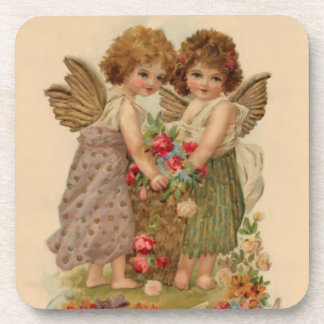 vintage cherub children art coaster