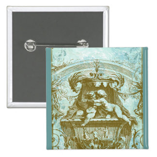 Vintage Cherub Fountain Save the Date Design Pinback Button