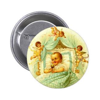 Vintage Cherub New Baby Shower Gift Gender Neutral Button