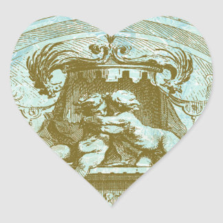 Vintage Cherub Save the Date Design Heart Sticker