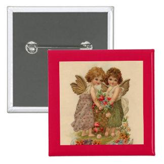 vintage cherub valentine pinback button