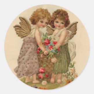 vintage cherub valentine round sticker