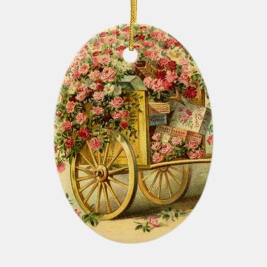 Vintage  Cherub & Wagon of Gifts & Roses Ceramic Ornament