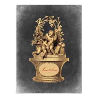 Vintage Cherubs and Colorful Background Invites