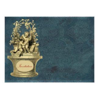 Vintage Cherubs and Wallpaper Background Custom Invitation