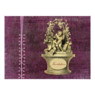 Vintage Cherubs and Wallpaper Background Invitations