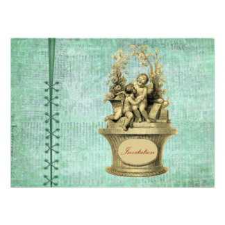 Vintage Cherubs and Wallpaper Background Personalized Invitations