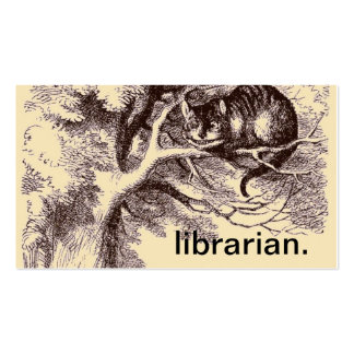 Vintage Cheshire Cat Alice in Wonderland Librarian Business Card