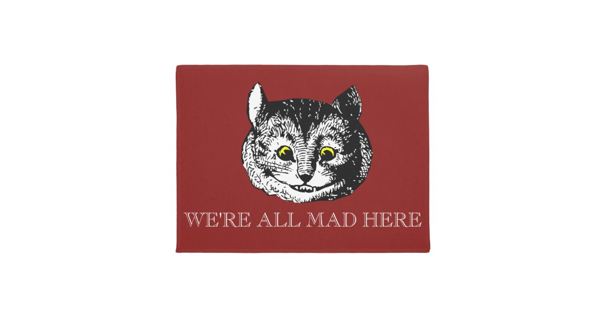 vintage cheshire cat all mad here doormat   zazzle