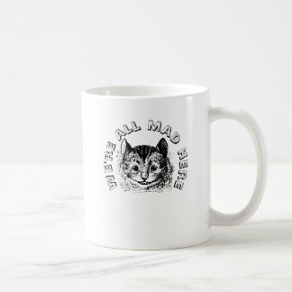 Vintage Cheshire Cat All Mad Here Quote Coffee Mug