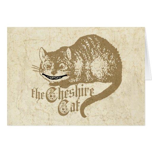 Vintage Cheshire Cat Illustration Greeting Card