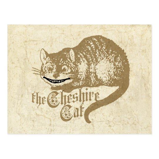 Vintage Cheshire Cat Illustration Postcard