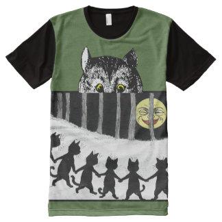 Vintage Cheshire Cat Moon Dance Art T-Shirt All-Over Print T-shirt
