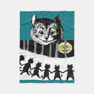 Vintage Cheshire Cat Tenniel Wain Moon Art Fleece Blanket