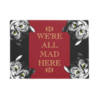 Vintage Cheshire Cat We're All Mad Here Art Doormat
