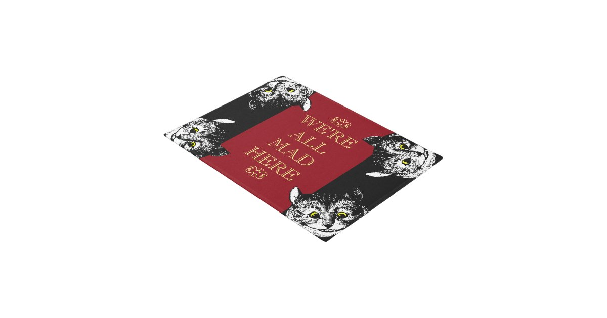 vintage cheshire cat we're all mad here art doormat   zazzle