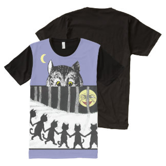 Vintage Cheshire Cats Moon Dance Art T-Shirt