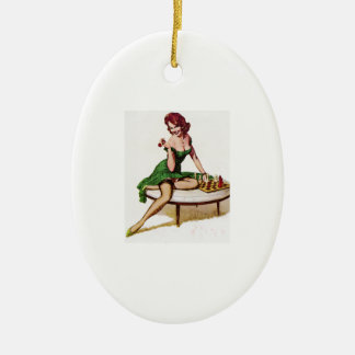 Vintage Chess Pin Up Girl Ceramic Ornament