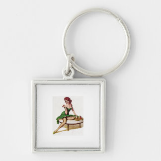 Vintage Chess Pin Up Girl Keychain