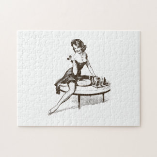 Vintage Chess Pin Up Girl Outline Jigsaw Puzzle