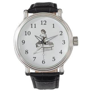 Vintage Chess Pin Up Girl Outline Watch