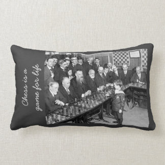 Vintage Chess Tournament Photo - Game for Life Lumbar Pillow