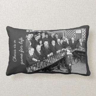 Vintage Chess Tournament Photo - Game for Life Throw Pillow