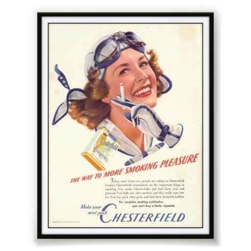 Vintage Chesterfield Cigarette Advertising 1940 Photograph