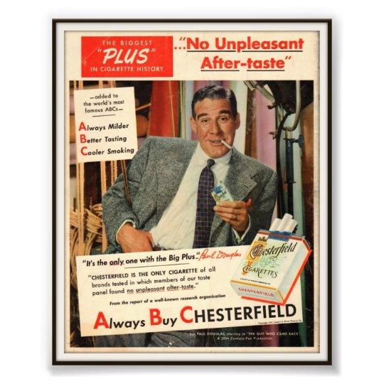 Vintage Chesterfield Cigarette Advertising 1951 Photo Print