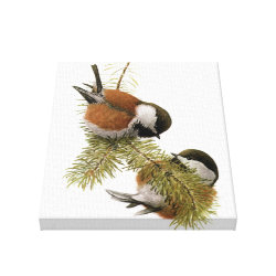 Premium Wrapped Canvas with Fuertes' Chestnut-backed Chickadee design