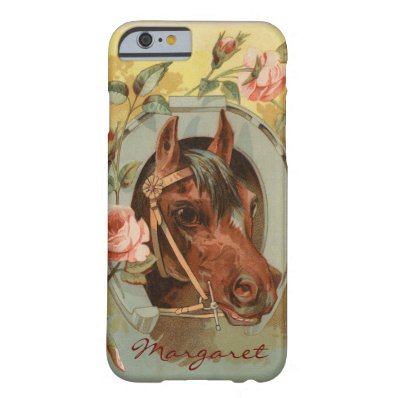 Vintage Chestnut Horse Personalized Barely There iPhone 6 Case