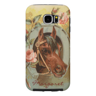 Vintage Chestnut Horse Personalized Samsung Galaxy S6 Case