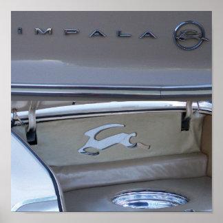 Vintage Chevrolet Impala Car Trunk Running Logo Poster
