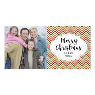Vintage Chevron Christmas Picture Photo Card