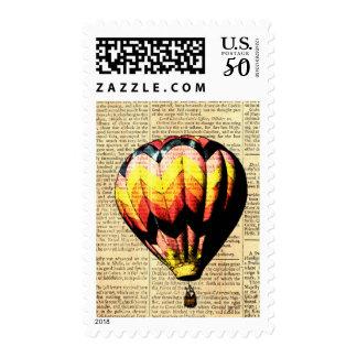 Vintage Chevron Hot Air Balloon on Newsprint Postage