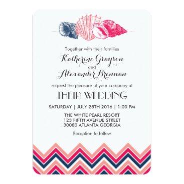 Beach Themed Vintage Chevron Seashells Beach Wedding Invitation