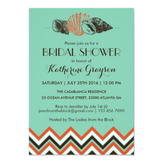 Vintage Chevron Seashells Bridal Shower Invitation