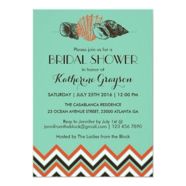 Beach Themed Vintage Chevron Seashells Bridal Shower Invitation