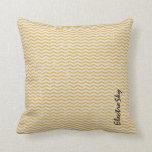 Vintage Chevron Yellow Throw Pillow