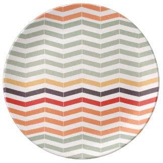 Vintage Chevron Zigzag Stripes Dinner Plate