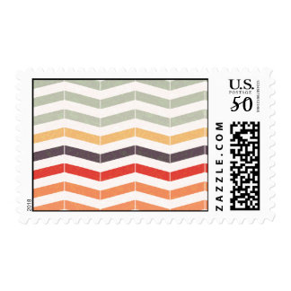 Vintage Chevron Zigzag Stripes Postage