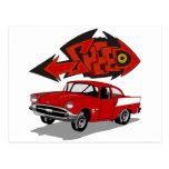 Vintage Chevy 1957 con velocidad del texto de la Tarjeta Postal